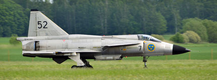 Airshow. Vasteras, Sweden - 25 May: Scandinavian airshow with Saab Viggen AJS 37 at Vasteras airport, Sweden May 25, 2014 royalty free stock photography