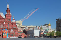 Airshow at the Victory Day Royalty Free Stock Image