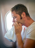 Airsickness. Royalty Free Stock Photography