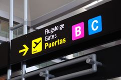 Airport gate signs, Malaga airport. Airside overhead Airport gate signs in terminal 3, Malaga, Andalusia, Spain, Western Europe stock image