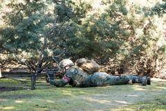 Airsoft战士射击 免版税图库摄影
