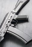 airsoft的AK74M卡拉什尼科夫攻击步枪模型 04/08/2017俄罗斯,市切博克萨雷 免版税库存照片