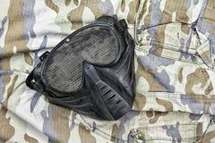 Airsoft BB炮铜滤网面具,面孔安全保护 图库摄影