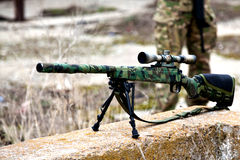 Airsoft sniper rifle. Airsoft manual bolt action sniper rifle Stock Photo