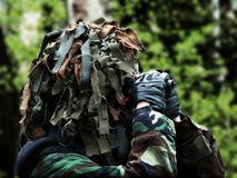Airsoft recon with masked camouflage Royalty Free Stock Images