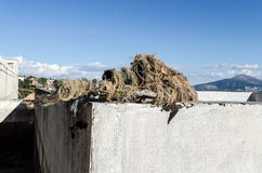 Airsoft sniper on roof Stock Images