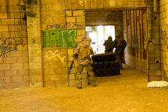 Airsoft soldier waiting Royalty Free Stock Images