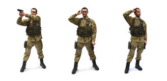 Airsoft soldier white background. Set of airsoft soldiers, white background royalty free stock photos