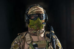 Airsoft strikeball player in military soilder Royalty Free Stock Images