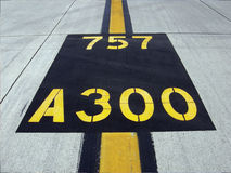 Airstrip landing stripes with aircraft designations Royalty Free Stock Photography
