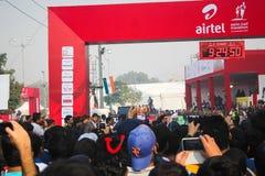 Airtel Half Marathon 2014 Flag off. People participating in the Airtel Half Marathon 2014 in New Delhi India. Ethiopia's Guye Adola won the marathon with a time Stock Images