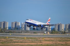 Airtravel - British Airways Flight landing In The Costa Blanca Stock Photo