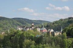 Airview sur le château de Loket Images stock