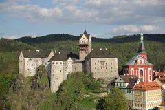 Airview sur le château de Loket Photographie stock