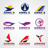 Airway logo bird and airplane flying vector set design Stock Image