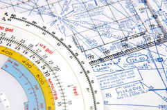 Airway Navigation 2. Flight Planning on Airways with some old instruments Royalty Free Stock Photo