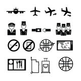 Airways service icons set. Flat royalty free illustration