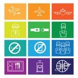 Airways service icons set flat. Line stock illustration