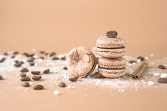 Airy and delicious Chocolate Coffee and Baileys Macarons. Traditional french eco-friendly dessert. Airy and delicious Chocolate Coffee and Baileys Macarons Stock Images