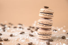 Airy and delicious Chocolate Coffee and Baileys Macarons. Traditional french eco-friendly dessert. Airy and delicious Chocolate Coffee and Baileys Macarons Stock Photos