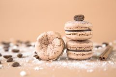 Airy and delicious Chocolate Coffee and Baileys Macarons. Traditional french eco-friendly dessert. Airy and delicious Chocolate Coffee and Baileys Macarons Royalty Free Stock Photo