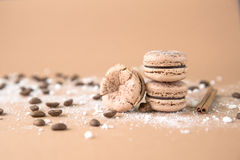 Airy and delicious Chocolate Coffee and Baileys Macarons. Traditional french eco-friendly dessert. Airy and delicious Chocolate Coffee and Baileys Macarons Stock Image