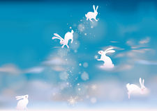 Airy heaven with rabbits Royalty Free Stock Images