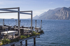 Airy lakeside terrace Stock Photography