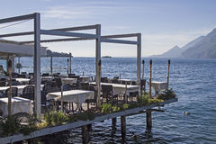 Airy lakeside terrace Royalty Free Stock Image