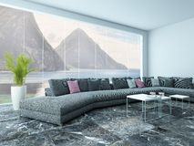 Airy living room interior with marble floor and couch Stock Photo