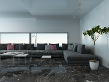 Airy living room interior with marble floor and couch Royalty Free Stock Image