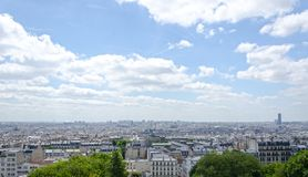 An airy panoramic view of Paris, France made from Montmartre Hill royalty free stock image