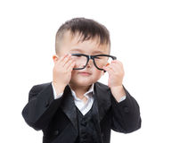 Aisa business baby wear glasses Royalty Free Stock Image