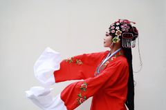 Aisa Chinese woman Peking Beijing Opera Costumes garden China traditional role drama white background ancient close-up isolated. Eastern Asian oriental royalty free stock images
