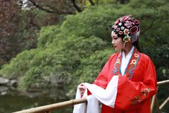 Aisa Chinese woman Peking Beijing Opera Costumes Pavilion garden China traditional role drama play dress dance perform ancient. Eastern Asian oriental royalty free stock photos