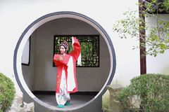 Aisa Chinese woman Peking Beijing Opera Costumes Pavilion garden China traditional role drama play dress dance perform fan ancient. Eastern Asian oriental stock images