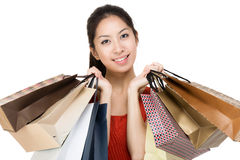 Aisa woman with shopping bag Stock Images