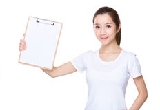 Aisan Woman hold with clipboard Stock Photo