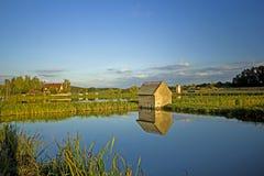Aisch谷的鲤鱼池塘在Frankonia 免版税库存照片