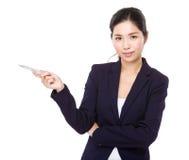 Aisde do ponto de pena da mulher de negócios Imagens de Stock