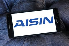 Aisin automotive company logo. Logo of Aisin automotive company on samsung mobile. Aisin, is a Japanese corporation which develops and produces components and Stock Photos