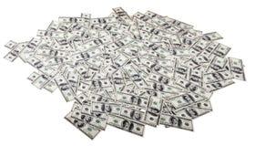 Aislado cientos fondos de los billetes de dólar - lío Foto de archivo libre de regalías