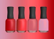 Aislado determinado del esmalte de uñas coloreado en un fondo varnis del clavo Imagen de archivo libre de regalías
