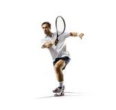 Aislado en el hombre joven blanco está jugando a tenis Imagen de archivo libre de regalías