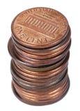 Aislado 1 pila de la moneda del centavo de los E.E.U.U. Foto de archivo libre de regalías