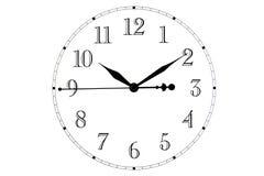 Aislado Vista superior de la cara de reloj El dial de relojes en el fondo blanco Las manos en el reloj stock de ilustración