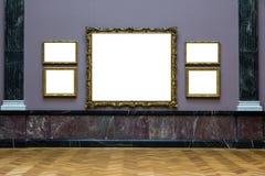 Aislador blanco del diseño mínimo adornado de la pared de Art Museum Frame Dark Blue imágenes de archivo libres de regalías