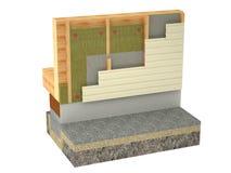 Aislamiento de la cabaña de madera en el fondo blanco Imágenes de archivo libres de regalías