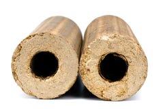 Aislamiento de la leña de las briquetas en blanco Imagen de archivo libre de regalías