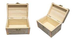 Aislamiento de madera del pecho del cajón de la caja abierta vieja del vintage en el blanco, regalo P Fotos de archivo libres de regalías